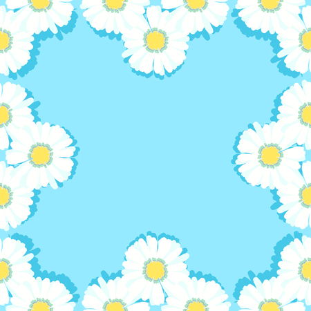 daisy wheel: seamless pattern frame with daisies on light blue vector illustration Illustration