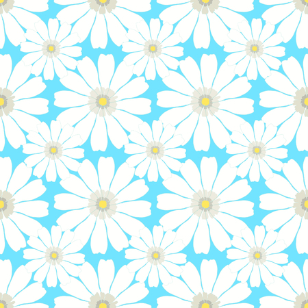 daisy wheel: seamless pattern with camomile on a blue background vector illustration Illustration