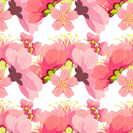 seamless pattern cherries blossom buds Chinese vector illustration Illustration