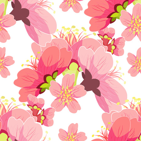 seamless pattern cherry blossom buds Chinese vector illustration 矢量图像