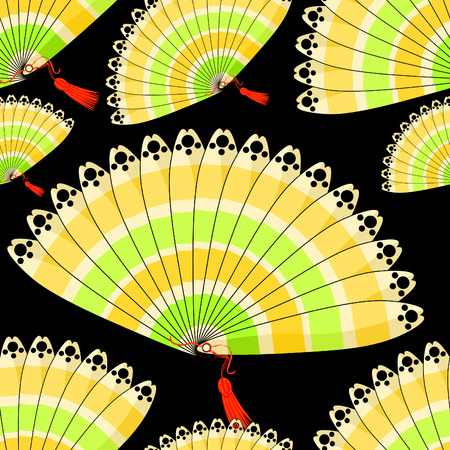 Japanese fan seamless pattern with colored stripes on a black background vector illustration
