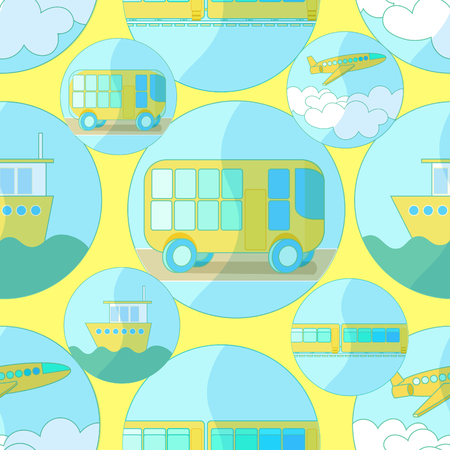 water bus: Seamless pattern with icons of transport bus, airplane, ship on a yellow background vector illustration