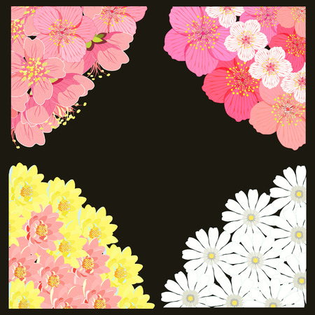 indium: set angle with sakura cherry blossom, chamomile, lotus vector illustration