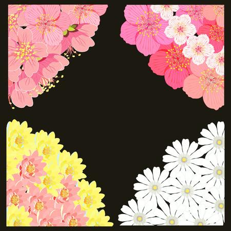 indium: set angle with sakura cherry blossom, chamomile, lotus vector illustration