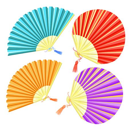 set of colored Japanese fan of vector illustration Illustration