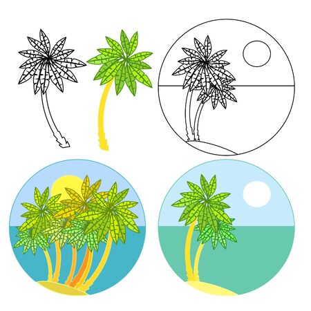 set of palm trees icon coloring vector illustration Illustration