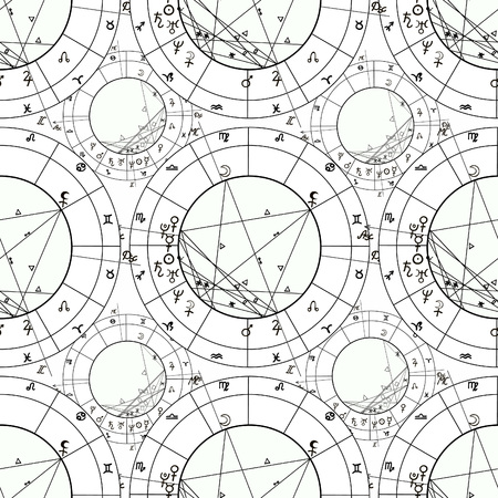 natal astrological chart, zodiac signs vector illustration