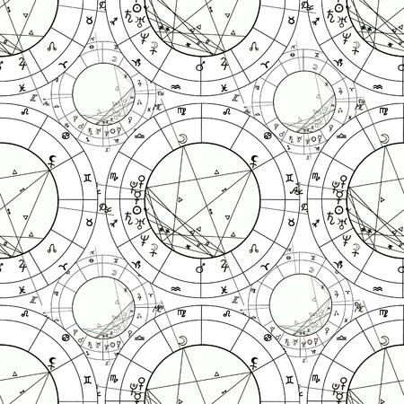 natal astrological chart, zodiac signs vector illustration Imagens - 68097123