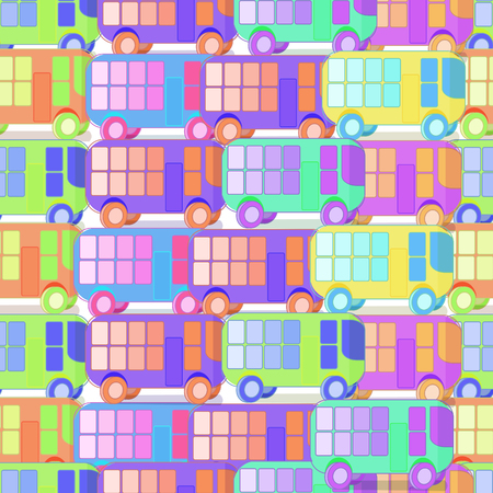 gaps: seamless pattern of colored children with no gaps buses vector illustration