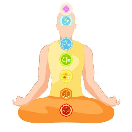 sanskrit: clothing man sitting in lotus position meditating with chakra. vector illustration