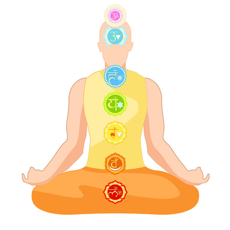 clothing man sitting in lotus position meditating with chakra. vector illustration
