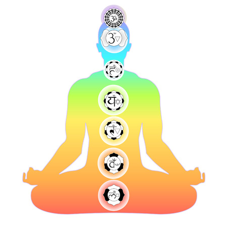color man sitting in lotus position meditating with chakra. vector illustration