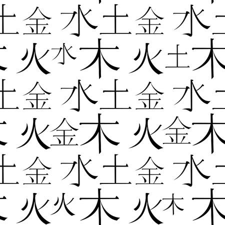 seamless pattern Chinese five basic elements of the universe hieroglyphics. vector illustration Çizim