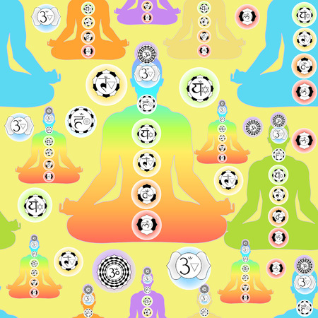 seamless pattern color man sitting in lotus position meditating with chakra on yellow. vector illustration