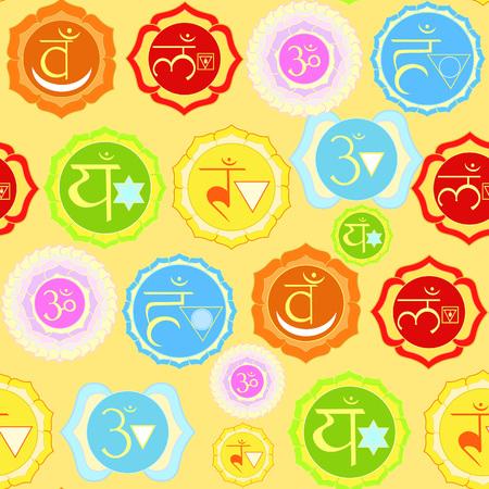 sanskrit: Indian chakra seamless pattern on yellow. vector illustration