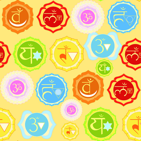 anahata: Indian chakra seamless pattern on yellow. vector illustration