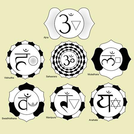 anahata: Indian chakra set of black and white logo. vector illustration Illustration