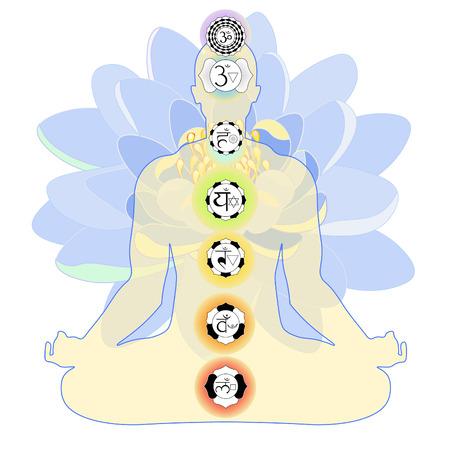 vishuddha: man sitting  position meditating with chakra, blue lotus. vector illustration Illustration