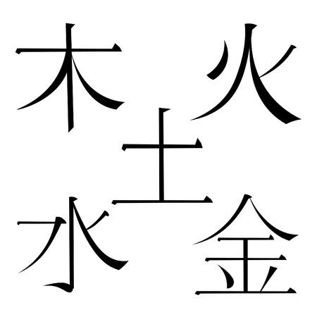 set Chinese five basic elements of the universe hieroglyphics. vector illustration