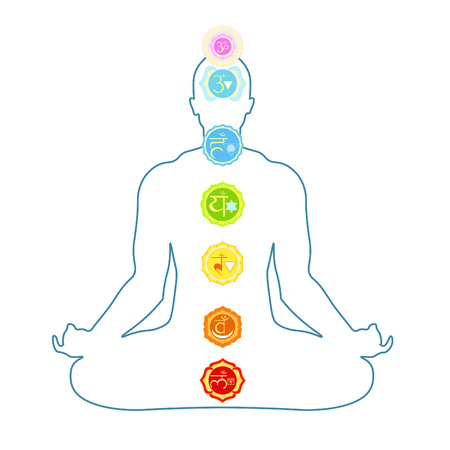 anahata: silhouette man sitting in lotus position meditating with chakra. vector illustration Illustration