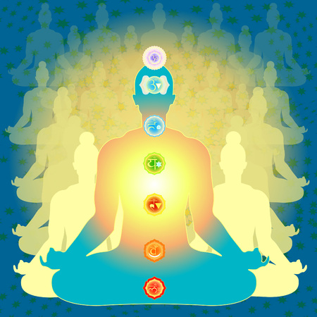 background people sitting in lotus position meditating with chakra. vector illustration Illustration