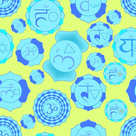 vishuddha: Indian chakra seamless pattern of bue on yellow. vector illustration Illustration