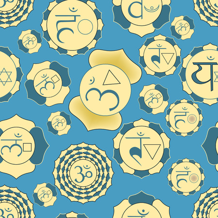 anahata: Indian chakra seamless pattern of yellow and blue. vector illustration Illustration