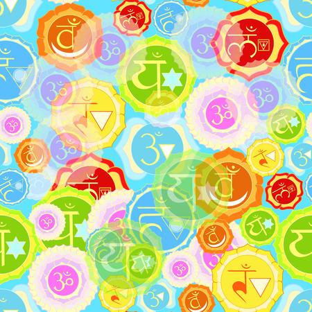 ajna: Indian chakra seamless pattern on blue background. vector illustration