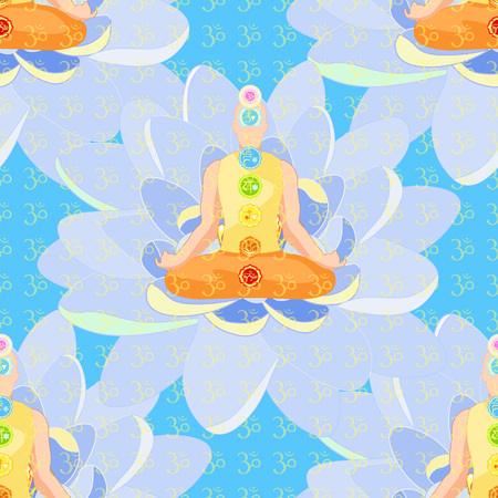 seamless pattern man sitting in lotus  meditating with chakra on blue. vector illustration