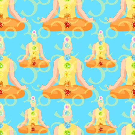 seamless pattern man sitting in lotus position meditating with chakra on blue. vector illustration
