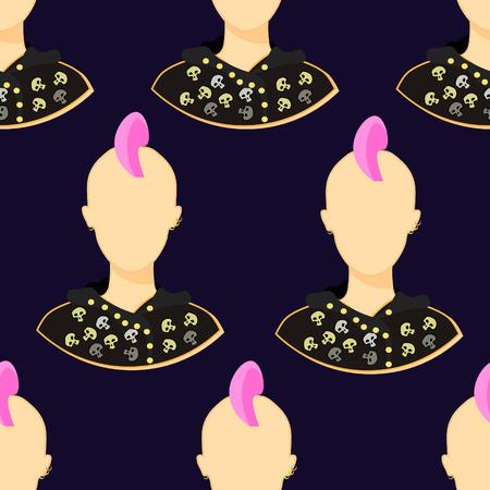 seamless pattern with skulls punk girl on dark vector illustration