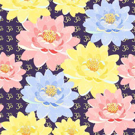 sanskrit: seamless pattern of lotus  meditating. vector illustration