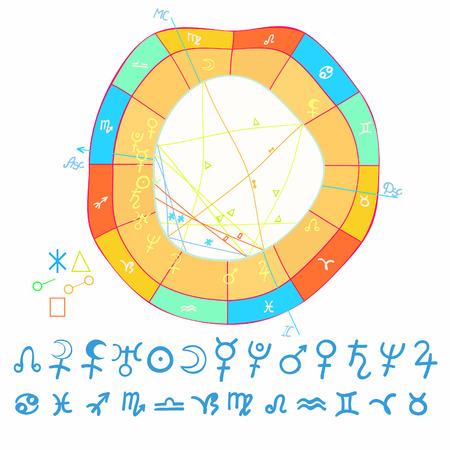 natal curved astrological chart, zodiac signs vector illustration Vektorové ilustrace