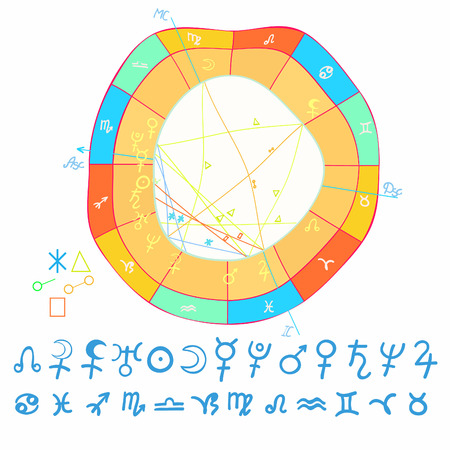 natal curved astrological chart, zodiac signs vector illustration