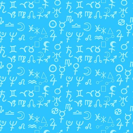 seamless pattern natal astrological chart, zodiac sign blue vector illustration