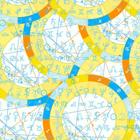 diagramme astrologique natal modèle sans couture, illustration vectorielle de signe du zodiaque Vecteurs