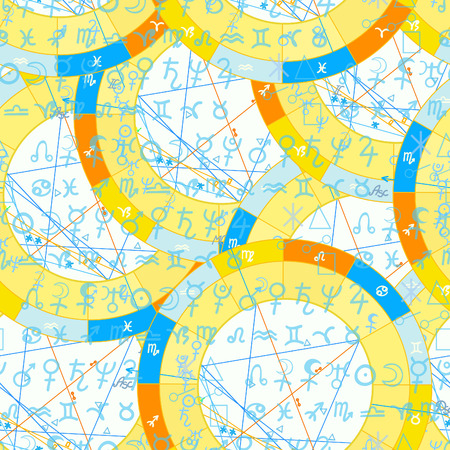 seamless pattern natal  astrological chart, zodiac sign vector illustration