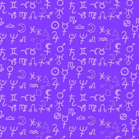 seamless pattern natal astrological chart, zodiac signs purple vector illustration