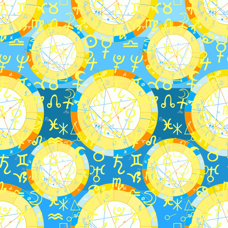 seamless pattern natal  astrological chart, zodiac yellow signs vector illustration