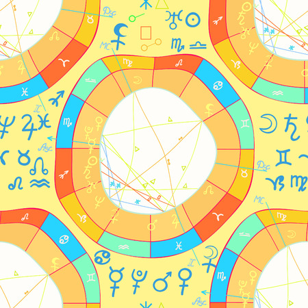 mundane: seamless pattern natal curved astrological chart, zodiac sign vector illustration