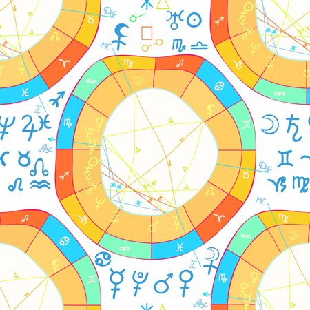 seamless pattern natal curved astrological chart, zodiac signs vector illustration Illustration