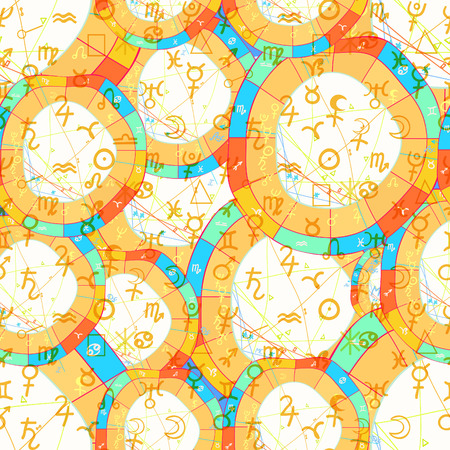 seamless pattern natal curved astrological chartand zodiac signs closed vector illustration
