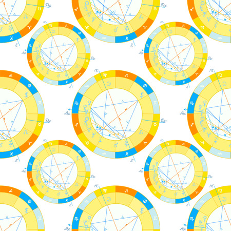 seamless pattern of natal  astrological chart, zodiac signs vector illustration Illustration