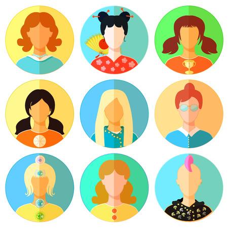 emo: set of woman, girl japan, punk, emo, teacher vector illustration