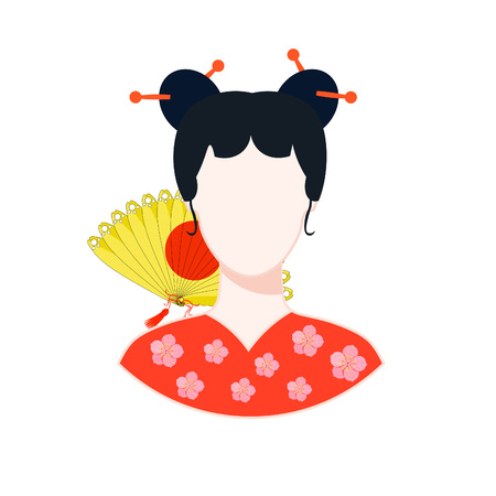 icon with a Japanese girl in red with a yellow fan vector illustration