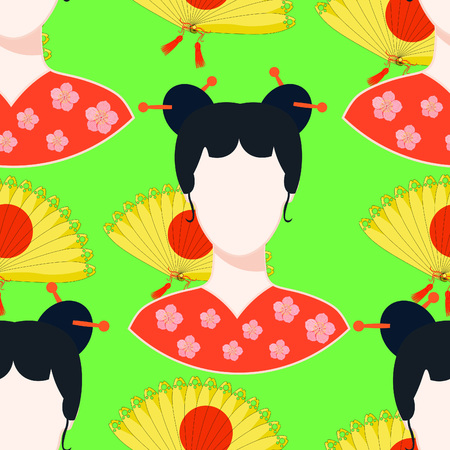 seamless pattern with a fan, Japanese girl  on green vector illustration