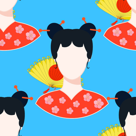 seamless pattern with a fan, Japanese girl vector illustration