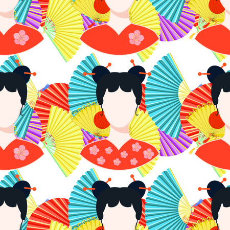 seamless pattern with a fans, Japanese girl  vector illustration Illustration