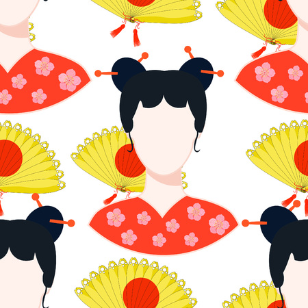 seamless pattern with a Japanese girl vector illustration Illustration