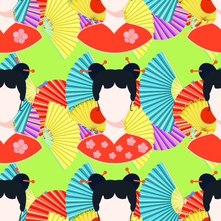 seamless pattern with fan, Japanese girl  on green vector illustration
